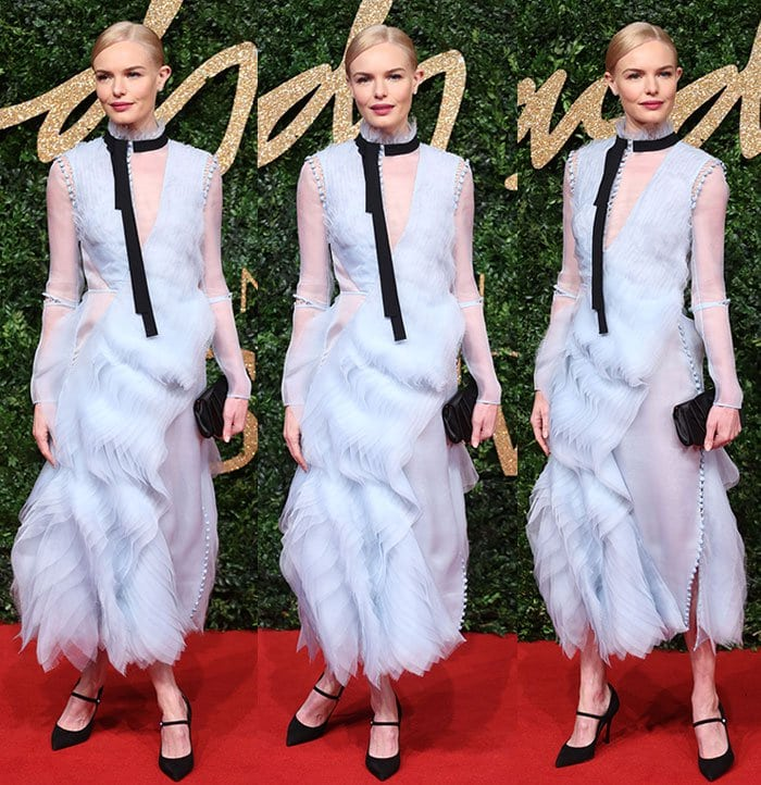 Kate Bosworth shows off her Tabitha Simmons pumps beneath her Erdem dress