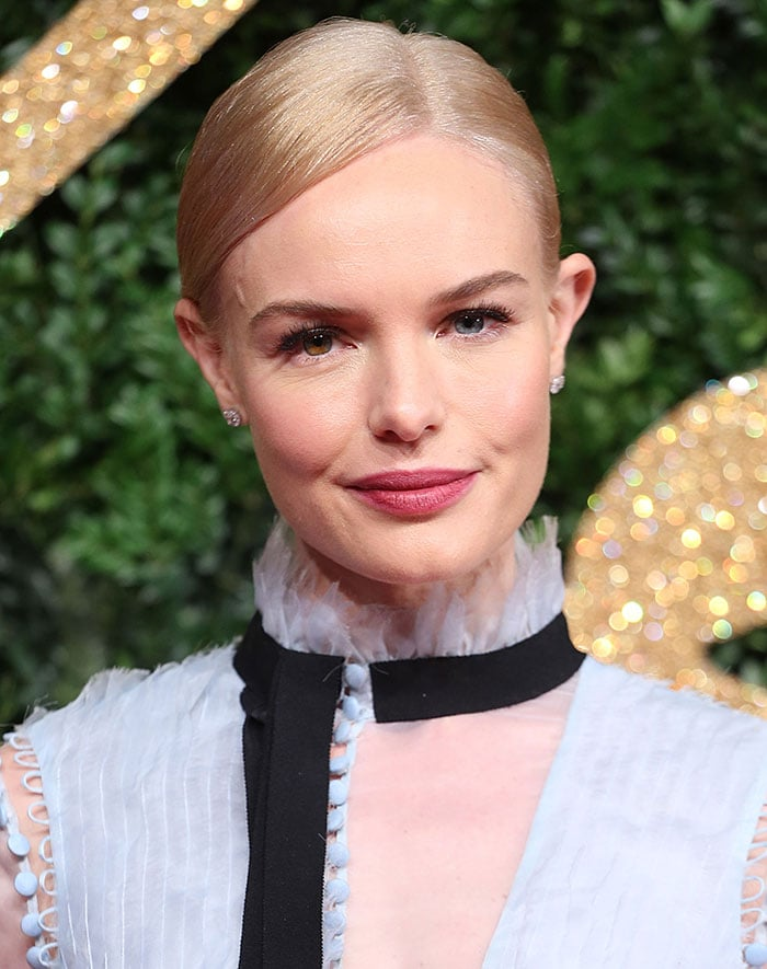 Kate Bosworth wears her hair back at the 2015 British Fashion Awards