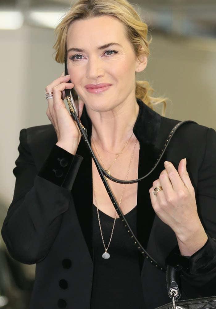 Kate Winslet wears her blonde hair back at ITV Studios in London