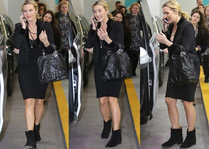 """Kate Winslet talks on the phone as she leaves her """"This Morning"""" interview at ITV Studios"""