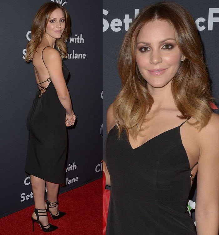 Katharine McPhee shows off the open back on her black Shona Joy dress