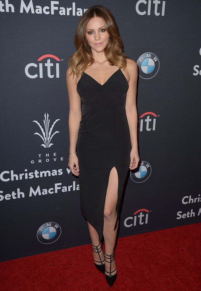 Katharine McPhee wears her hair down at The Grove Christmas