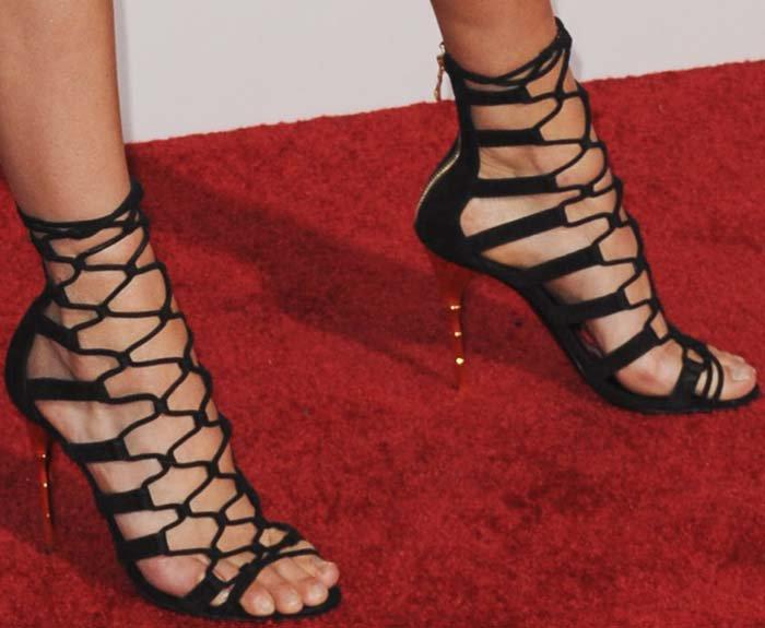 Kendall Jenner's feet in Balmain heels