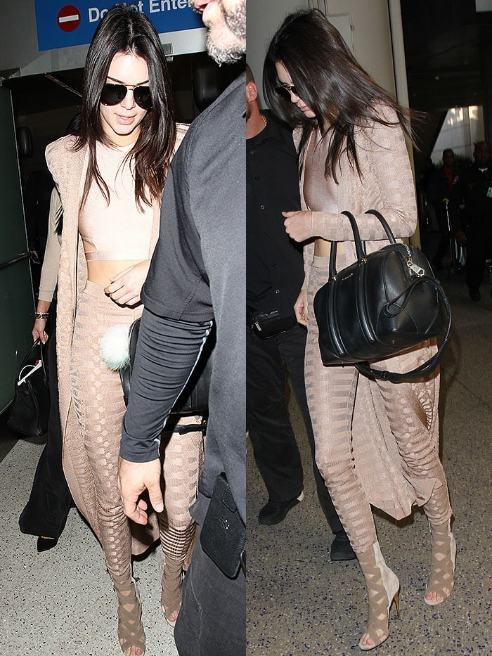 Kendall Jenner sporting a head-to-toe Balmain Spring 2016 look in nude tones
