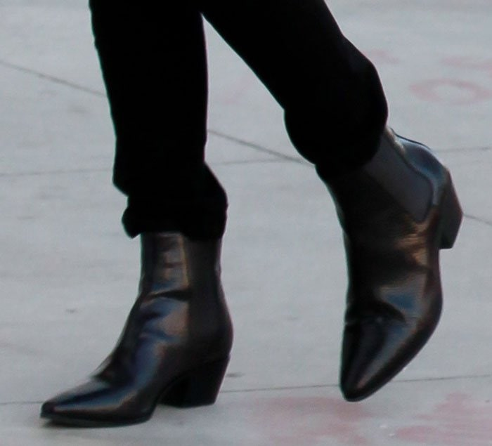 Kourtney Kardashian rocking Saint Laurent Wyatt boots