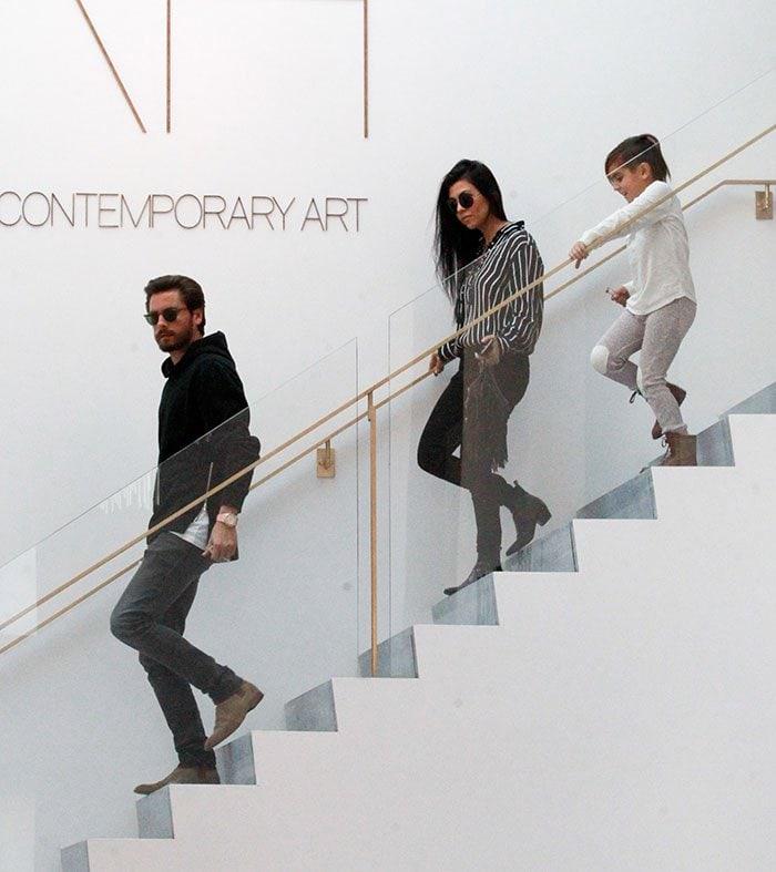 Kourtney Kardashian with son Mason and ex Scott Disick at RH Contemporary Art in Beverly Hills on November 27, 2015