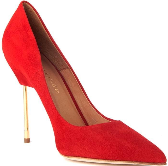 Kurt Geiger Britton Red Suede Court Shoes