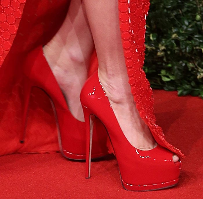 Lady Gaga wearing red patent Giuseppe Zanotti 'Super Sharon' peep-toe heels
