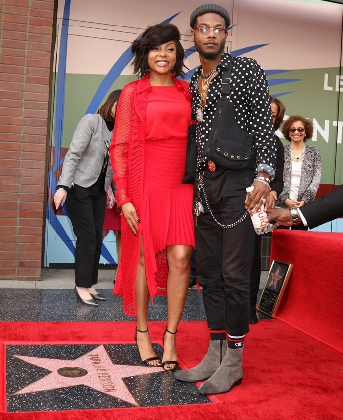 Taraji P. Henson and her son Marcell Johnson attend a ceremony honoring Taraji P. Henson with a star on The Hollywood Walk of Fame