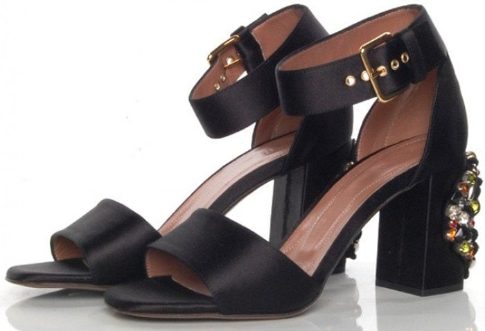 Marni Black Jewel Block Heel