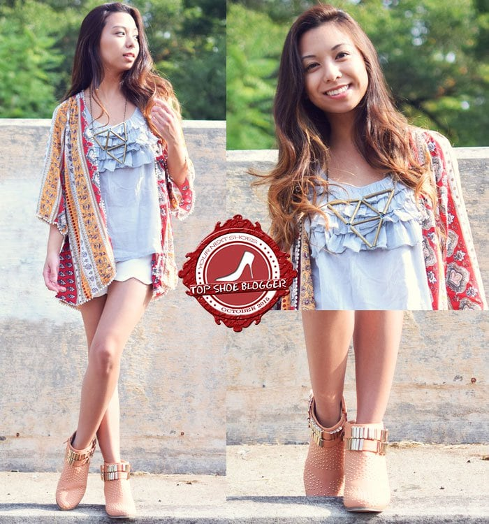 Melanie looked lovely in a printed kimono paired with white shorts and ankle booties