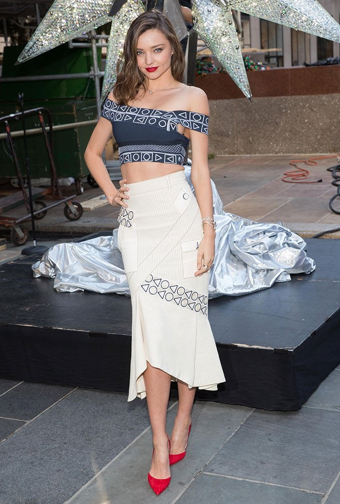 Miranda Kerr poses for photos in a two-piece ensemble from Peter Pilotto