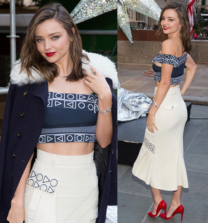 Miranda Kerr shows off her abs and backside in a two-piece Peter Pilotto ensemble