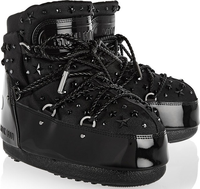 Moon Boot Jimmy Choo MB Buzz embellished faux patent-leather and shell snow boot