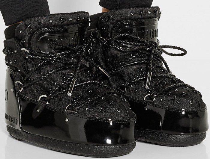 Moon Boot Jimmy Choo MB Buzz embellished faux patent-leather and shell snow boots