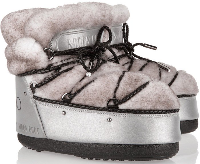 Moon Boot Jimmy Choo MB Buzz shearling and shell snow boot