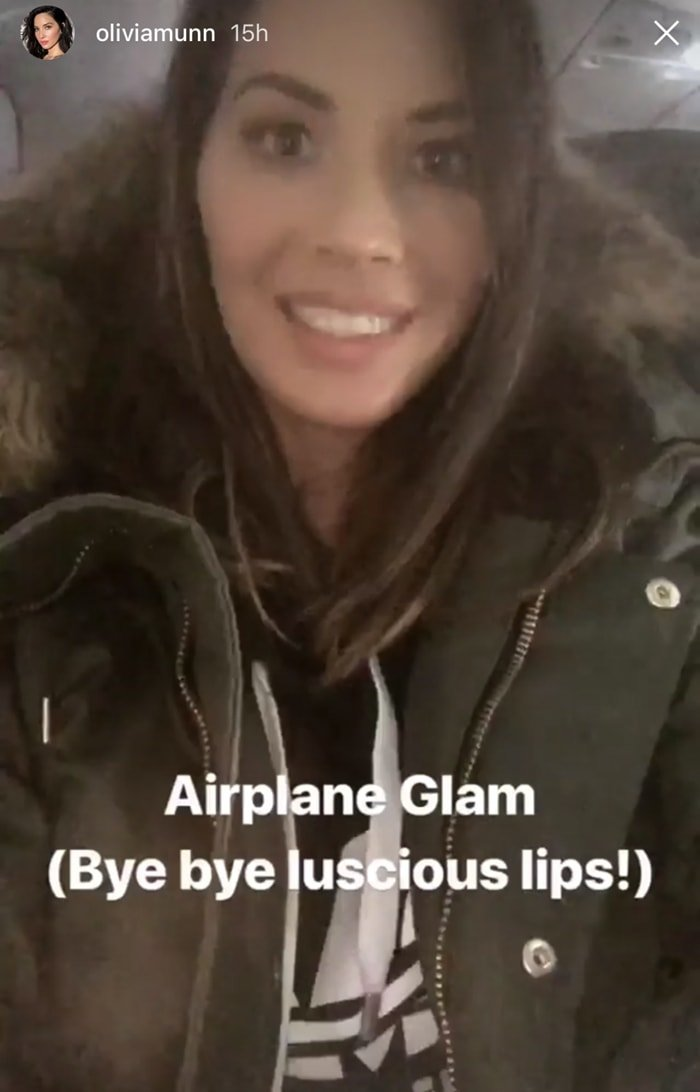 Olivia Munn shows on Instagram that her plumper lips are fake