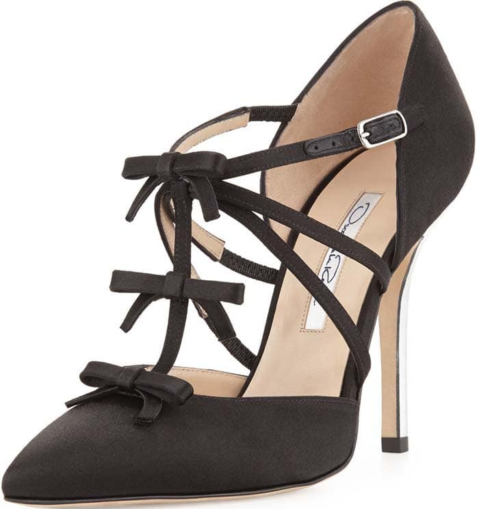 "Oscar de la Renta ""Alice"" Satin T-Strap Bow Pump in Black"