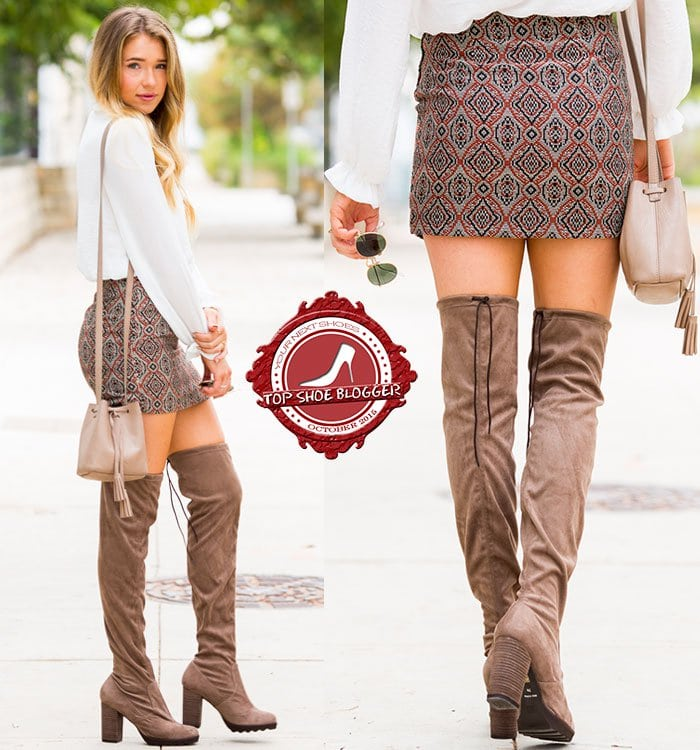 Payton flaunts her legs in a sexy miniskirt and suede over-the-knee boots