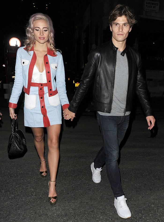 Pixie Lott and boyfriend Oliver Cheshire head to Tape nightclub