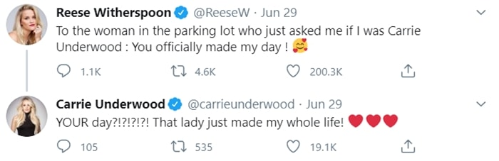 A Carrie Underwood fan mistook Reese Witherspoon for the popular singer