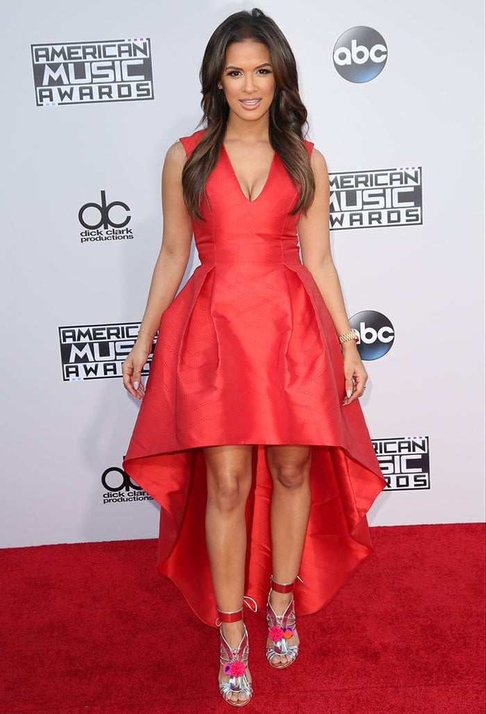 Rocsi Diaz wears an Alexis dress on the red carpet