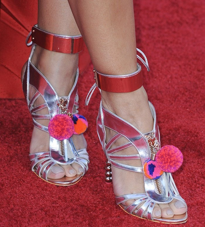 Rocsi Diaz's feet in Sophia Webster sandals