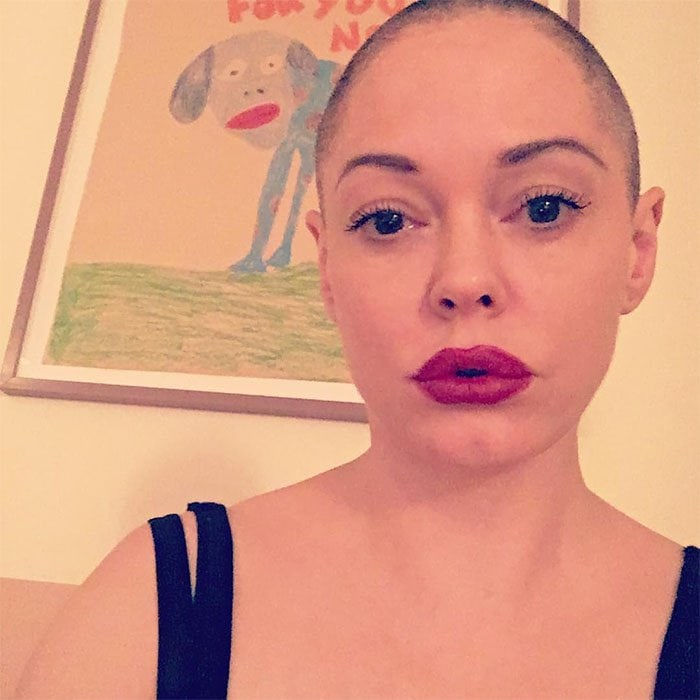 """Rose McGowan's Instagram pic of her newly shaved head captioned, """"No hair don't care. Honestly, it's liberating."""""""