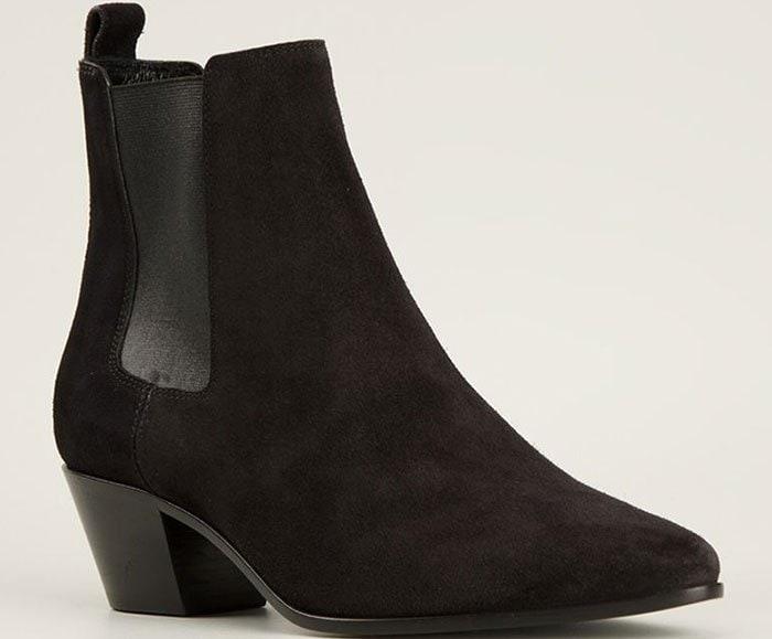 Suede Saint Laurent Wyatt Ankle Boots