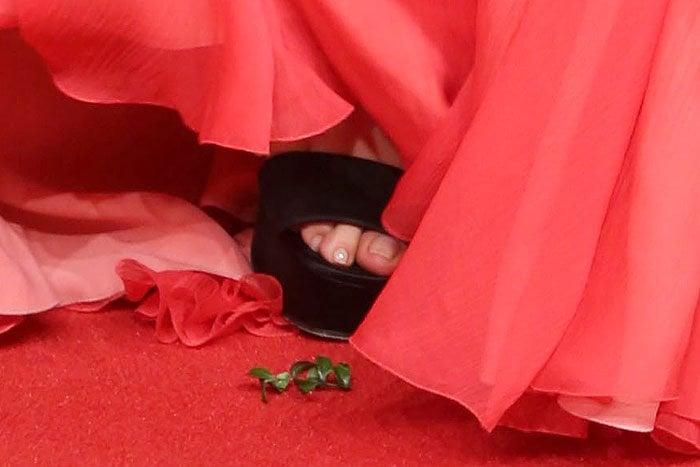 Salma Hayek black suede platform sandals