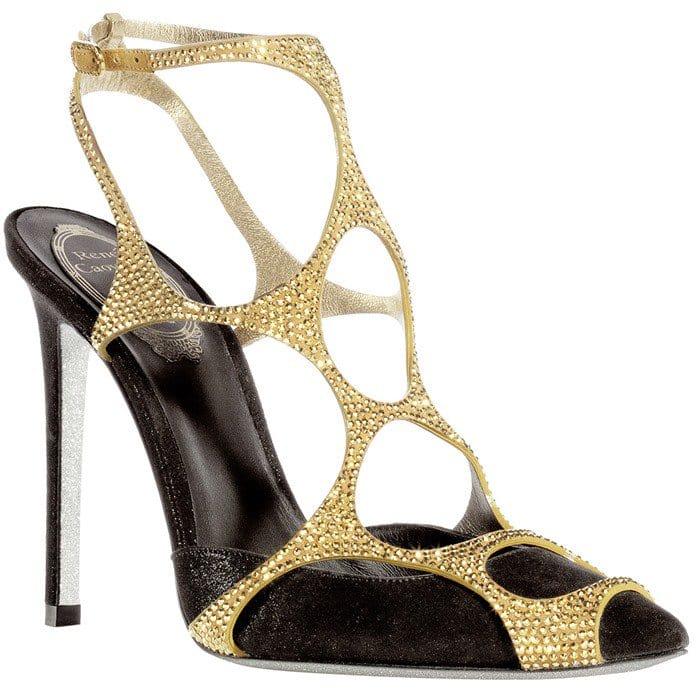 René Caovilla Gold Swarovski-Crystal Embellished 'Spider' Sandals