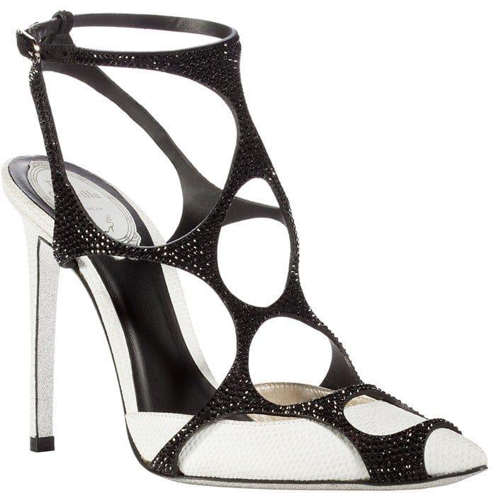 René Caovilla Black and White Swarovski-Crystal Embellished Spider Sandals
