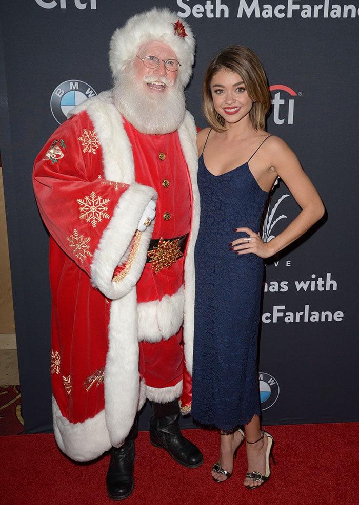 Sarah Hyland wears her hair down at The Grove Christmas