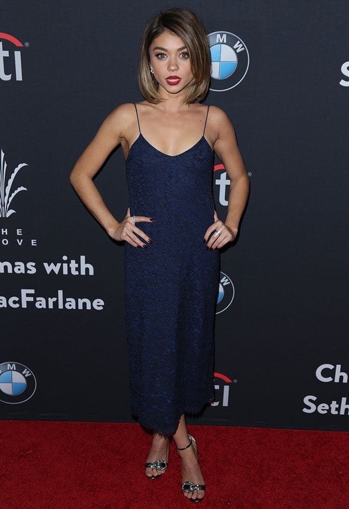 """Sarah Hyland poses in a slinky Houghton """"Darcy"""" dress"""
