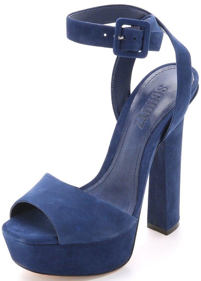 Schutz Amatista Platform Sandals Blue