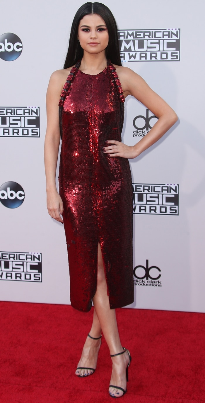 Selena Gomez shimmered on the red carpet in a dress by Givenchy