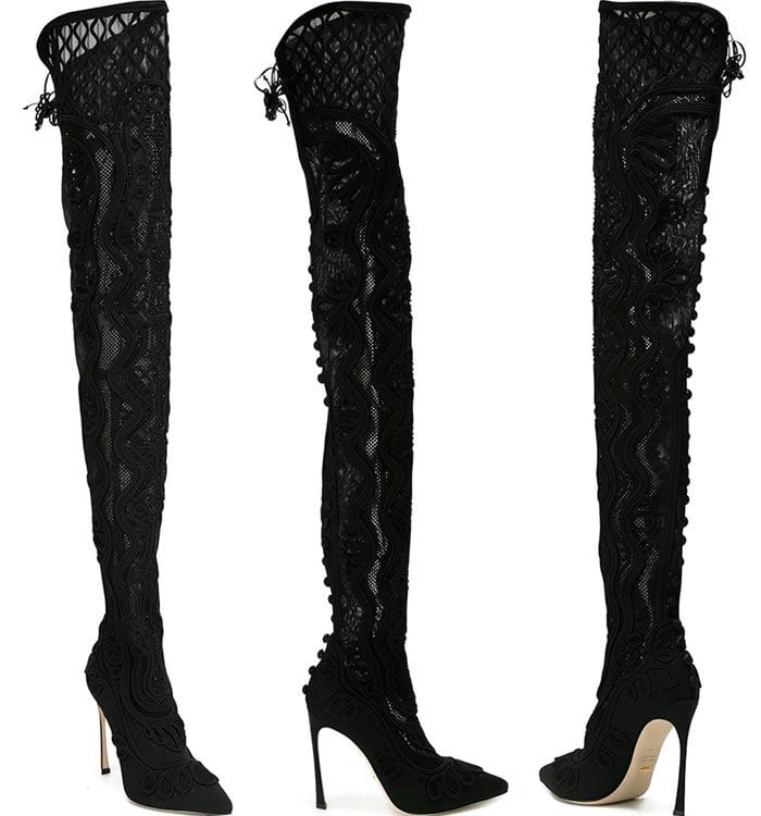 Sergio Rossi Embroidered Stiletto Thigh-High Boots