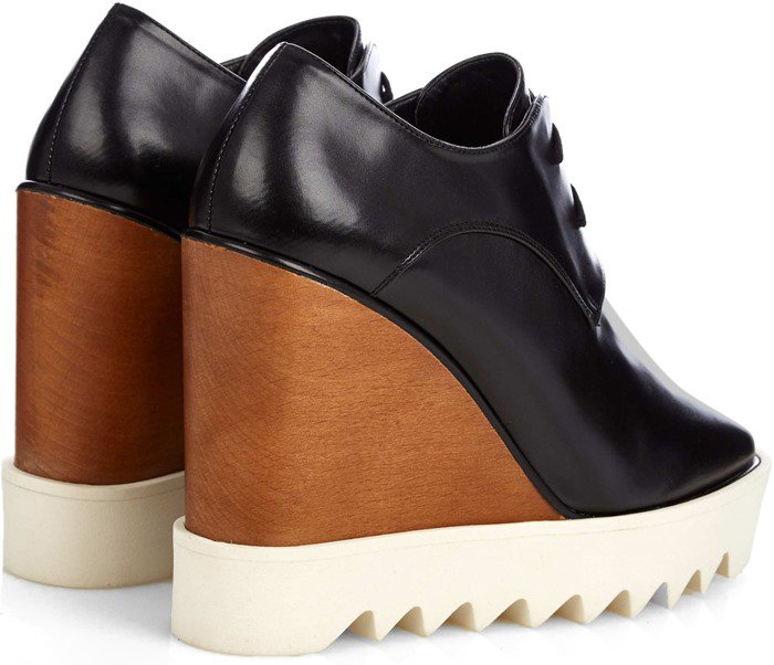 Stella McCartney Leana lace-up faux-leather wedge boots