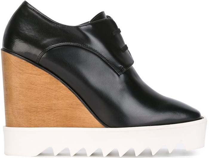 Stella McCartney Faux-Leather Wedge Oxford in Black