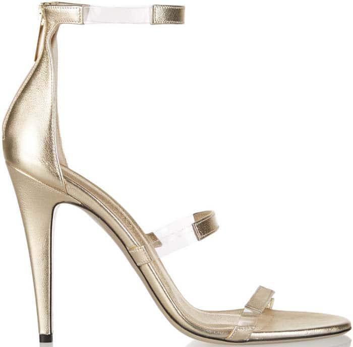 "Tamara Mellon ""Frontline"" Metallic Leather and PVC Sandals"