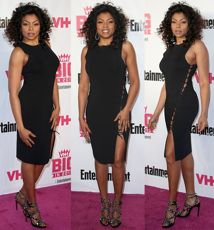 Taraji-P-Henson-black-Alexander-Wang-lace-up-side-dress