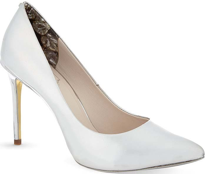 Ted Baker Metallic Heeled Leather Court Shoes