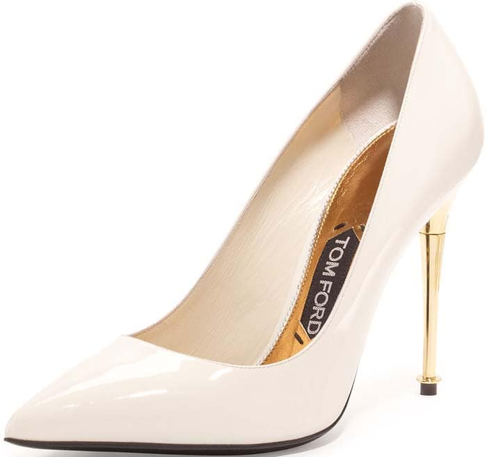 Tom Ford Patent Pin Heel Pumps in Chalk