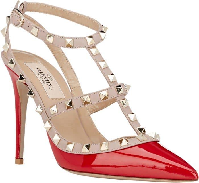 Valentino-Rockstud-Caged-Pumps-Red