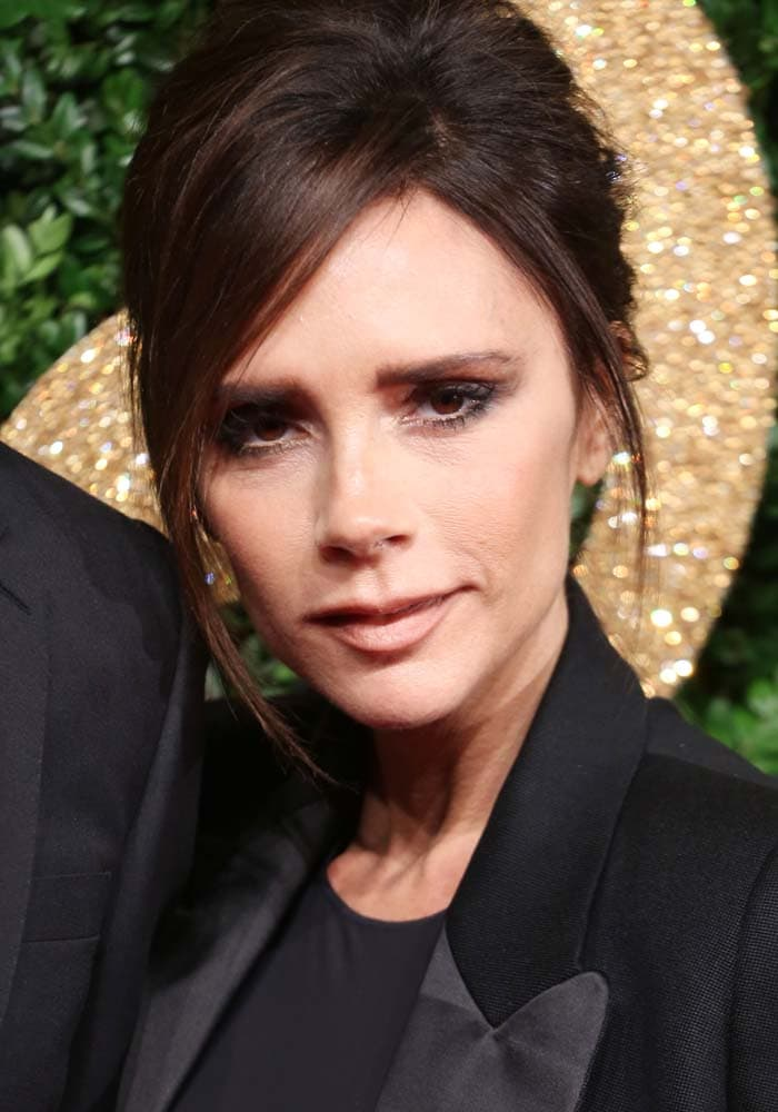 Victoria Beckham wears her hair back at the British Fashion Awards held November 23, 2015 in London