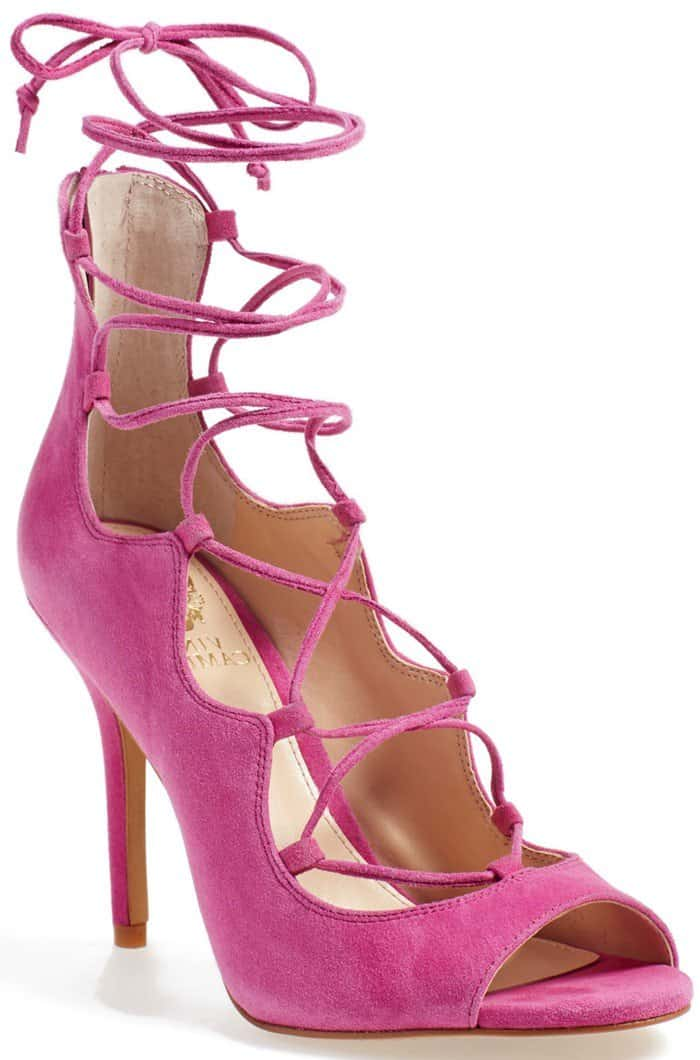 Vince Camuto Sandria Lace-Up Peep Toe Sandal pink suede
