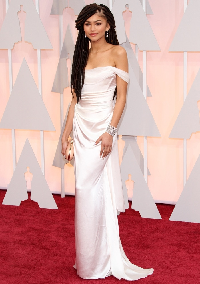 Actress/singer Zendaya arrives in a satin off-white dress at the 87th Annual Academy Awards