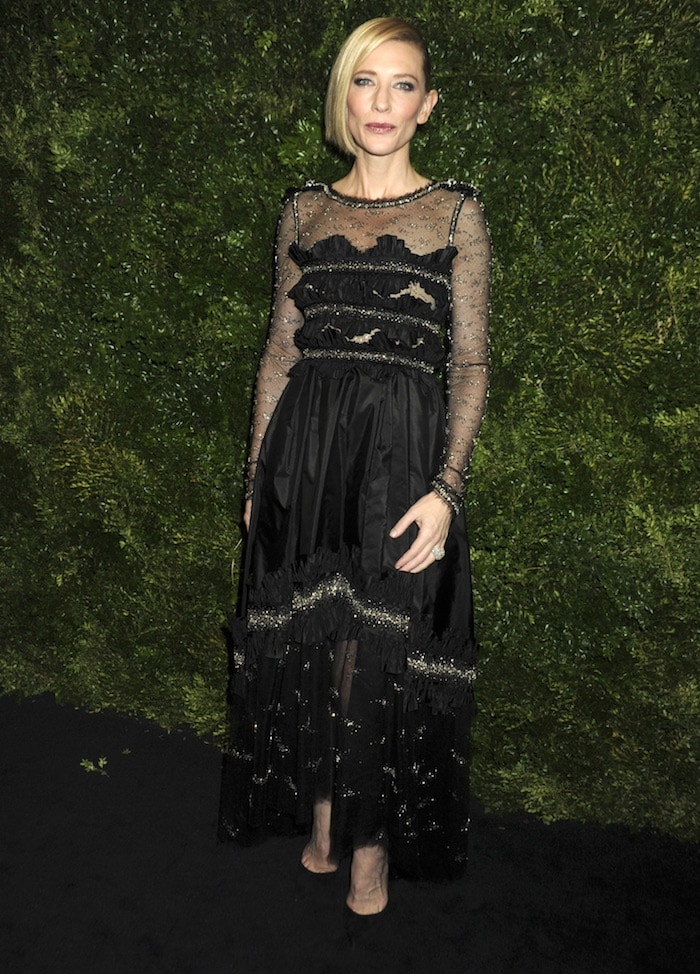 Cate Blanchett wears a Chanel Couture dress on the black carpet