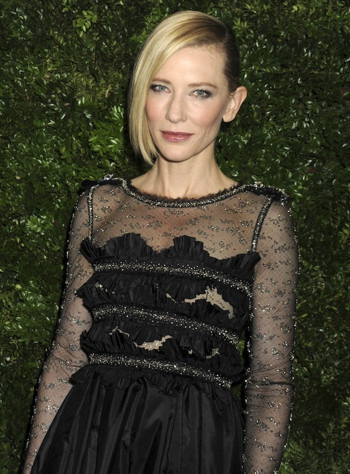 Cate Blanchett wears her hair half-up and half-down at the MoMA 8th Annual Film Benefit
