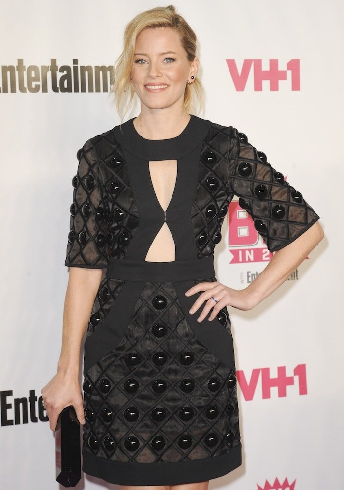 Elizabeth Banks in a black Giulietta sheer dress from the Spring 2016 collection